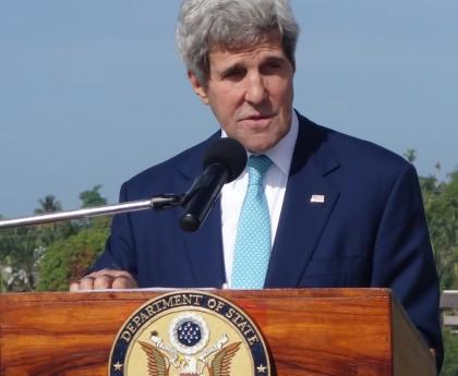 U.S. Secretary of State John Kerry making his remarks at the Guadalcanal War Memorial. Photo credit: SIBC.