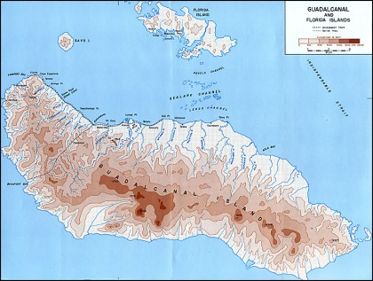 A map of Guadalcanal. Photo credit: Ibiblio.