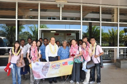A similar team of Taiwanese youths at the Honiara International Airport. Photo credit: Taiwan Embassy.