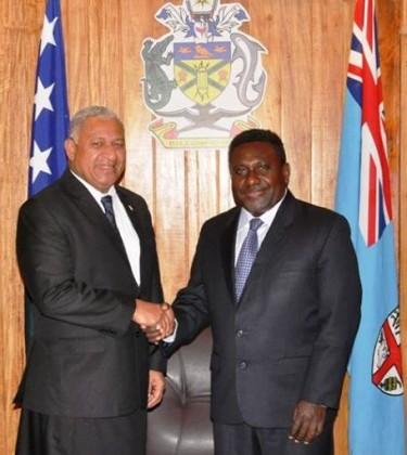 Prime Minister Gordon Darcy Lilo and Fijian Prime Minister-elect Voreqe Bainimarama. Photo credit: OPMC.