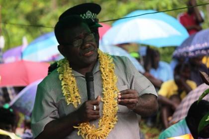 Prime Minister Gordon Darcy Lilo delivering his speech. Photo credit: Douglas Marau.