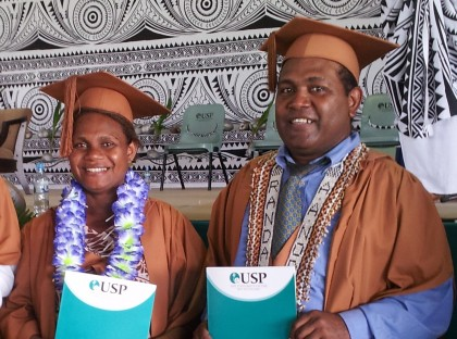 Mr Randall and Ms Tura on their graduation. Photo credit: OAG.