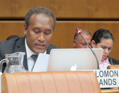 Derek Futaiasi at the UNCAC Review Session in Viena, Austria on Tuesday. Photo credit: GCU.