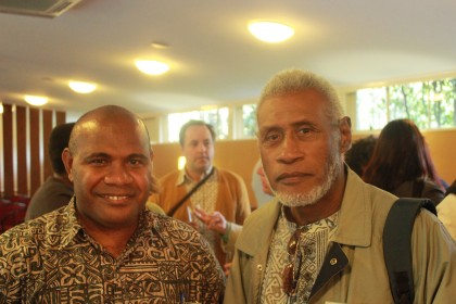 Tara Kabutaulaka and Fr Sam Ata, Chairman of the Solomon Islands Truth and Reconciliation Commission. Photo credit: blog.hawaii.edu.