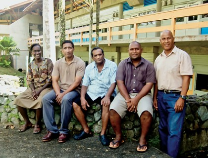 Dr Culwick Togamana second from right with colleague at USP Fiji. Photo credit: cen.acs.org