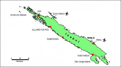 A map of Isabel Province . Photo credit: http://www.commerce.gov.sb