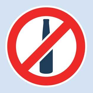 Liquor ban sign. Photo credit: hitwicket.com
