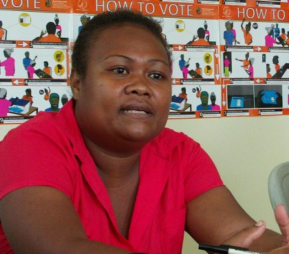 SIEC Public Relations Officer Philothea Ruaeho speaking to the media. Photo credit: SIBC.