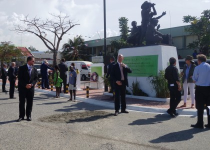 The Pride of the Nation monument during Secretary of State's visit. Photo credit: SIBC.