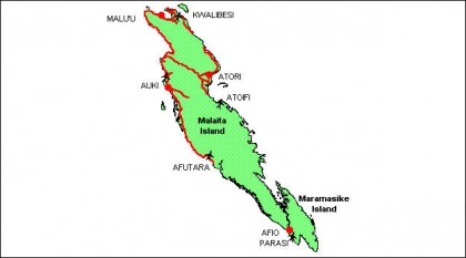 A map of Malaita Province. Photo credit: www.commerce.gov.sb