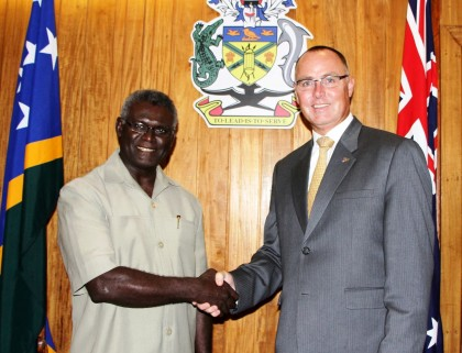 High Commissioner Andrew Byrne met Prime Minister Sogavare today to offer Australia's congratulations on his election. Photo credit: Australia In Solomon Islands facebook page.