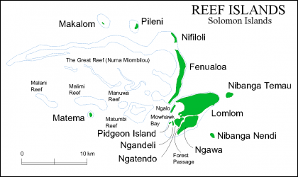 Map of the Reef Islands. Photo credit: SIBC.