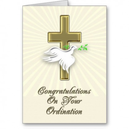 Ordination congratulations with a golden cross card. Photo credit: www.zazzle.co.uk