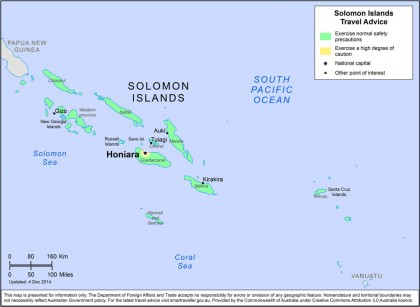 A map of Solomon Islands. Photo credit: www.smartraveller.gov.au