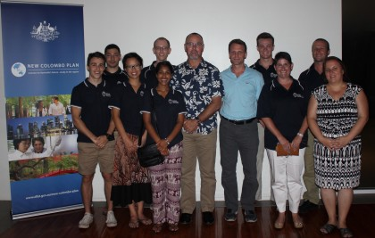 Australian High Commissioner Andrew Byrne (centre) and Counsellor Kirsten Hawke (far right) with Bond University students. Photo credit: Australian High Commission Honiara.
