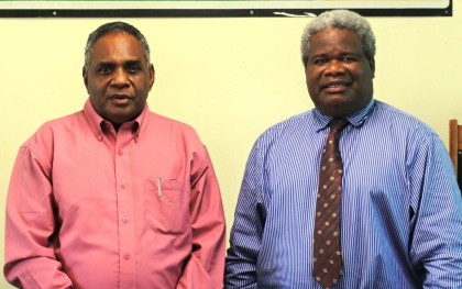 City Mayor Alference Inoga Fatai (left), and the Chairman of LCC Francis Cecil Luza (right) after the Induction. Photo credit: HCC.