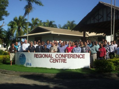 FFA monitoring, control and surveillance experts meet about illegal fishing. Photo credit: FFA.