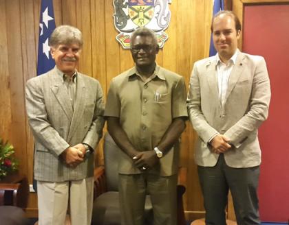 Prime Minister Hon Manasseh Sogavare, EU Ambassador to Solomon Islands Leonidas Tezapsidis (left) and EU's Head of Operations in Solomon Islands Ioannis-Pavlos Evangelidis after the courtesy visit. OPMC.