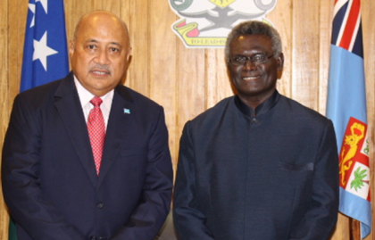 Prime Minister Hon Sogavare and Fiji's Foreign and International Cooperation Minister Hon Ratu Inoke Kubuabola after their meeting. Photo credit: OPMC.