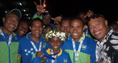 A Solomon Islands athletics team. Photo credit: pacific.scoop.co.nz