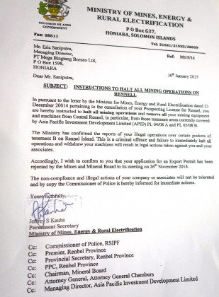A copy of the notice issued to Bintang Borneo. Photo credit: SIBC.