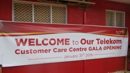 A welcome banner in front of the newly opened Our Telekom Yandina office. Photo credit: Our Telekom.