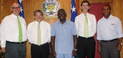 BSP Country Manager David Anderson, BSP Chairman Kostas Constantinou, Prime Minister Sogavare, BSP Chief Executive Officer Robin Fleming and Deputy Secretary to the Prime Minister Derick Futaiasi. Photo credit: SIBC.