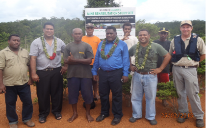 Ishmael Dai (Deputy Director of Mines), Jeffery Kauha, Minister of Mines Samson Maneka, Andrew Muaki and Paul Hubbard. Photo credit: Sumitomo.
