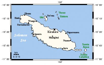 Kirakira spotted on a map of Makira Ulawa province. Photo credit: bs-ba.facebook.com