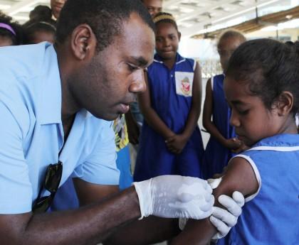 Measles vaccination Honiara Solomon Islands Sept 2014_St Nicholas Primary school. Photo credit: MHMS.