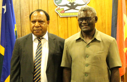 Prime Minister Manasseh Sogavare and PNG's Foreign Minister Hon. Rimbink Pato. Photo credit: OPMC.