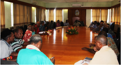 PM Sogavare (at the top end of the table) in discussion with the Harifafa delegation. Photo credit: OPMC.