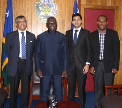 PM Sogavare flanked by Ambassador Mathews (at PM's right), Singapore Foreign Affairs official, Mr Md Syfulnizar and the Prime Minister's Assistant Secretary,Mr Derek Futaiasi. Photo credit: OPMC.