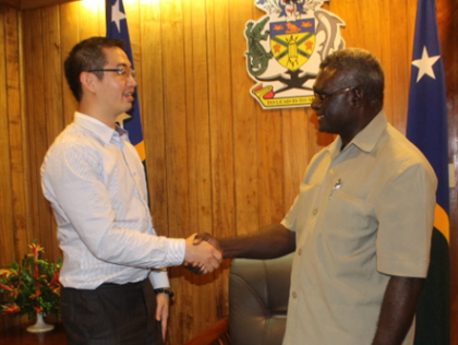 Prime Minister Manasseh Sogavare meets Mr Min of Taiwan's Motech Industries Incorporation. Photo credit: OPMC.