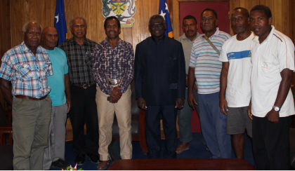 The Auluta Basin team with Prime Minister Manasseh Sogavare. Photo credit: OPMC.