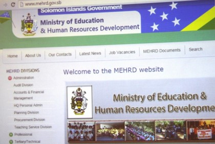 The Homepage of the MEHRD website on display. Photo credit: GCU.