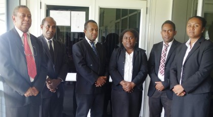 The five Magistrates with Deputy Magistrate (left). Photo credit: SIBC.