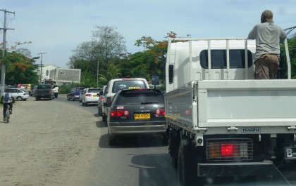 Traffic along infrastructure in Honiara. Photo credit: SIBC.