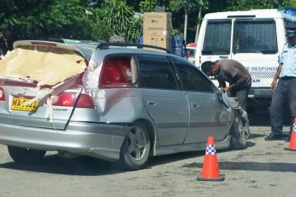 A recent car accident at Fishing village, Honiara. Photo credit: SIBC.