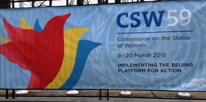 A CSW 59 banner. Photo credit: www.goiam.org