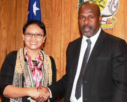 Deputy Prime Minister Douglas Ete and Indonesian Foreign Minister Retno Marsudi during her courtesy visit on Saturday. Photo credit: GCU.