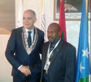 Deputy Prime Minister Douglas Ete and Morocco's Foreign Minister Salaheddine Mezouar. Photo credit: GCU.