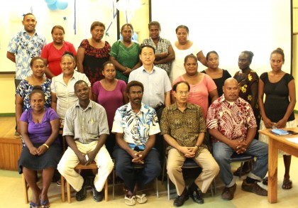 Group photo with Chief of UNICEF SI Office Mr. Yun Jong Kang and Director STI-HIV program MHMS Dr. Henry Kako