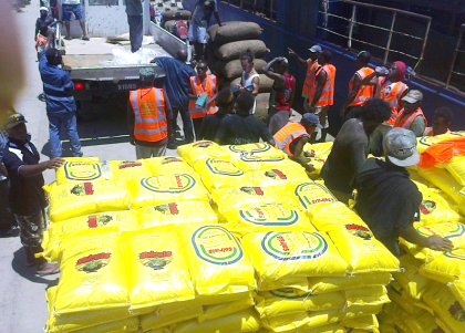 NDMO officers and volunteers loading relief supplies on-board MV Florence after similar assessments. Photo credit: NDMO.