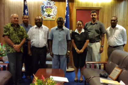 PM Sogavare and his Deputy Secretary Mr Derek Futaiasi posing with the MSG Chair Mr Tutugoro (at PM's right) and his delegation after their discussions. Photo credit: OPMC.