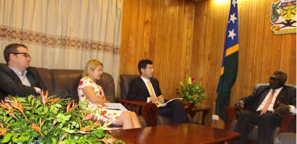 Prime Minister Sogavare briefs the ADB delegation about his government's policy intentions. Photo credit: OPMC.