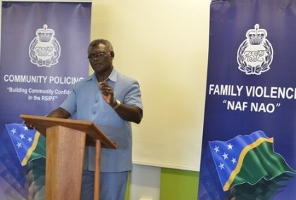 Prime Minister Manasseh Sogavare speaking at the conference. Photo credit: RAMSI.
