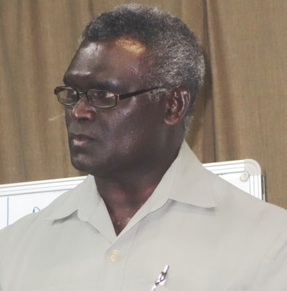 Prime Minister Manasseh Sogavare talking to journalists at the workshop. Photo credit: SIBC.