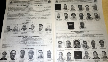 The 38 Political Appointees published in the Island Sun newspaper. Photo credit: SIBC.