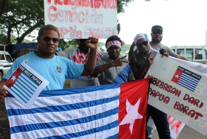Free West Papua Movement supporters in Solomon Islands. Photo credit: Charles Kadamana.